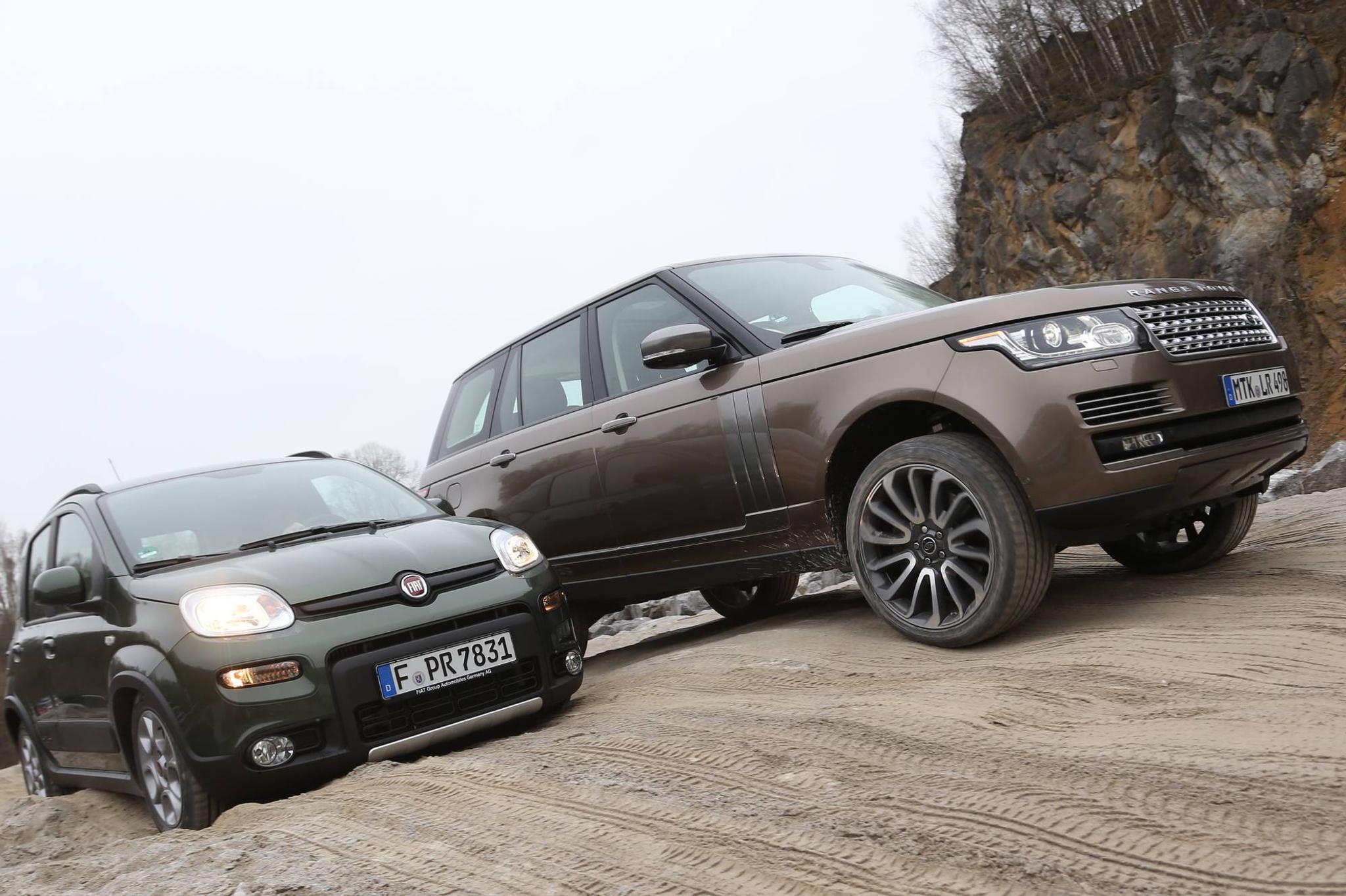 Fiat Panda 4x4 >> Fiat Panda 4x4 Kohtaa Range Roverin Tuulilasi